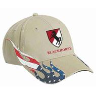 Khaki Hat with Flag Flames